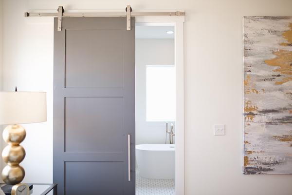 Grey bypass barn door